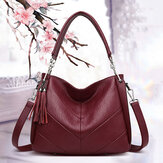 Women Large Capacity Solid Tassel Tote Bag Crossbody Bag Handbag