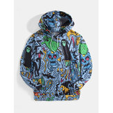 Mens Halloween Allover Lustige Ghost Print Kangaroo Pocket Drawstring Hoodies