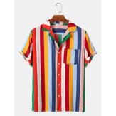 カジュアルな多色縦縞メンズポケット付き半袖コットンシャツ