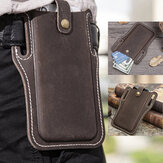 Men Genuine Leather Vintage 6.3 inch Phone Bag Waist Bag Pouch Leather Belt Bag Purse