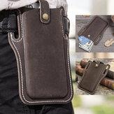 Erkekler Hakiki Deri Vintage 6.3 inç Telefon Çanta Bel Çanta Kılıfı Deri Kemer Çanta Purse