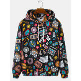 Grappige Cartoon Print Pocket Drop Shoulder Hoodies voor mannen
