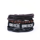 Vintage Men's Multilayer Leather Wood Bead Bracelets
