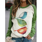Women Cartoon Bird Print O-Neck Raglan Sleeves Pullover Sweatshirts