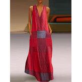 Women Sleeveless V-neck Plaid Patchwork Causal Summer Maxi Dress