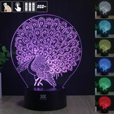 Peacock 3D Acrylic LED Mood Night Light 7 Touch Color USB Desk lampada Bel regalo per bambino