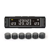 Wireless Tire Pressure Monitor System Solar External TPMS with 6 Sensor for Car RV Truck