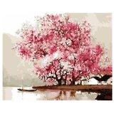 Conjunto de pintura a óleo por número Rosa Cherry Blossom Tree Painting DIY Acrílico Pigment Painting by Numbers Set Hand Craft Art Supplies Decoração de escritório doméstico