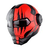 SOMAN Iron Man Casque Flip Up Casque de Moto Robot Style Moto Casco Monster Casque DOT Approbation