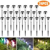 24 pièces LED lumière de chemin de pelouse solaire en acier inoxydable lampe de paysage de jardin étanche pour la décoration de rue à la maison