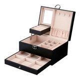 صندوق تخزين مجوهرات من الجلد صندوق مجوهرات خاتم متعدد الطبقات كبير سعة صندوق تخزين مجوهرات