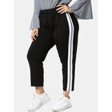 Plus Size Women Color Block Elastic Waist Drawstring Casual Pants
