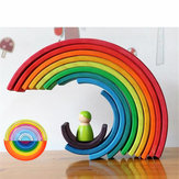 12 Pcs Baby Toys Rainbow Blocks Wooden Rainbow Stacker Nesting Puzzle Creative Montessori Building Blocks Educational Toys