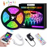 5M bluetooth Non-waterproof RGB LED Strip Light 5050 Music Lamp + 24Keys Remote Control + 12V 2A Power Supply
