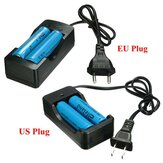 2x 3.7V 3000mAh 18650 Li-ion Battery + EU/US Plug Charger