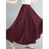 Frauen Big Swing einfarbig elastische Taille locker lässig langen Rock