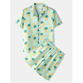 Mens Pajama Set Funny Pineapple Print Faux Sik Revere Collar Smooth Breathable Home Sleepwear
