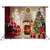 Roter Weihnachtsbaum-Geschenk-Stuhl-Fotografie-Hintergrund-Studio-Stützen-Hintergrund des Weihnachtsbaum-7x5FT
