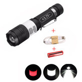 Elfeland T6 3Modes 2000LM USB Zoomable LED Flashlight + 18650 + USB شحن Cable