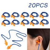 20 زوجًا Soft سيليكون سدادات أذن قابلة لإعادة الاستخدام لحماية السمع أثناء النوم والضوضاء الصاخبة أثناء السفر ودراسة سدادات الأذن بحبل