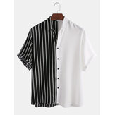 Herren Black and Stripes Patchwork Design Spleißen Mode Shirts