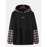 Mens Cotton Letter Print Patchwork Plaid Casual Drawstring Hoodies