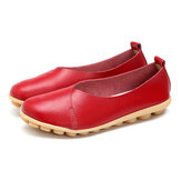 SOCOFY Larger Size Women Soft Sole Comfortable Leather Flat Loafers