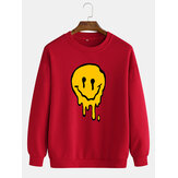 Funny Smile Print Pullover Drop Shoulders Mens Cotton Long Sleeve Casual Sweatshirts