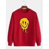 Забавный пуловер с принтом улыбки, мужские хлопковые повседневные кофты с длинными рукавами и заниженными плечами