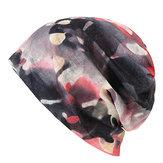 Mujer Encaje de impresión de arte Beanies Cap al aire libre Multi-función de la bufanda cálida Collar Daul Uso