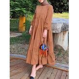 Women Solid Color Puff Sleeve Lace-Up Button Casual Loose Tiered Layered Maxi Dress