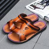 Sandali da esterno casual antiscivolo aperti a due vie in pelle bovina da uomo