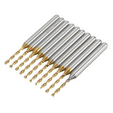 Drillpro DB-P5 10pcs 1/8 Inch 3.175mm Shank 1.3mm Titanium Coated Drill Bits PCB Engraving Tool
