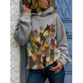 Cartoon Cats Print Langarm Casual Kapuzenpullover Für Damen