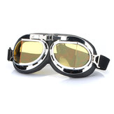 Motorcycle Scooter Helmet Goggles Silver Frame Pilot Style