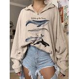 Felpe a maniche lunghe con pullover larghi con stampa balena da donna