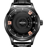 MEGIR MG1067 Fashion Casual Men Calendar Function Kulit Watch Band Kuarsa Jam Tangan