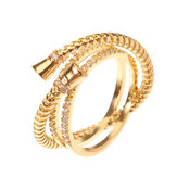 Luxury Sterling 24K Gold Plated Unique Screw Thread Three Round Overlapping Rings Women Jewelry