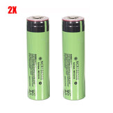 2PCS NCR18650B 3400mAh 3.7V Unprotected Pointed Head Rechargeable Li-ion Battery