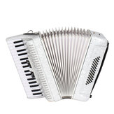 IRIN 34 Tecla 48 Baixo Acordeão Instrumento Musical Acordeão Branco Iniciante Adulto Instrumento Musical Branco Padrão Teclado Presente Instrumento Musical