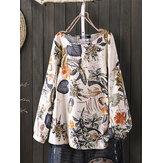 Blusas vintage de algodão feminino Planta com estampa floral de manga comprida solta