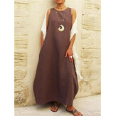 Solid Color Sleeveless O-neck Women Casual Long Maxi Dress
