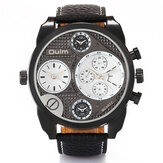 Oulm 9316 Vintage Fashion Men Watch Large Dial Dual Time Zone Waterproof Leather Band Quartz Watch