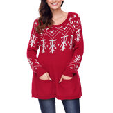 Christmas Women Printed Sweater with Pocket