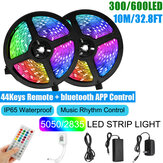 10M SMD5050/2835 RGB Smart LED Strip Light APP Control Music Waterproof Lamp 44 Keys Remote Control + Power Adapter