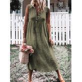 Women Casual Cotton Linen Pure Color Sleeveless Dress