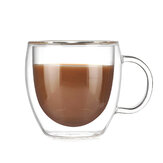 200ml Double Wall Layer Glass Coffee Tea Cup Mug & Handle Heat-resistant Tools
