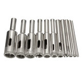 11Pcs 3-14mm Diamond Coated Core Hole Saw Drill Bit Set Tools for Tiles Marble Glass