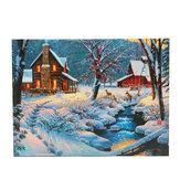1 τεμάχιο LED φωτεινή ζωγραφική σε καμβά Χειμώνας χιόνι καμπίνα ελάφια διακοσμητικά τοίχου εικαστικών εικ