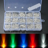 750PCS 3mm Diodes LED Light Geel Rood Blauw Groen Wit Assortiment DIY Kit